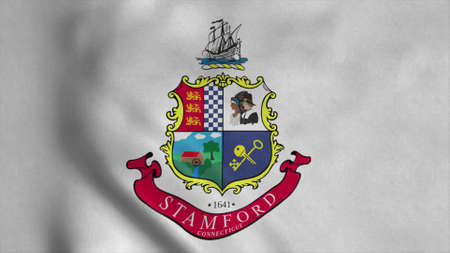 Stamford flag, city of Connecticut state, United States of America. 3d illustration