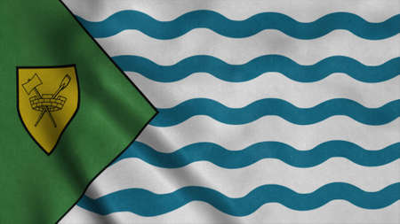 Vancouver City waving flag. Sign of Vancouver Canada City. 3d illustration
