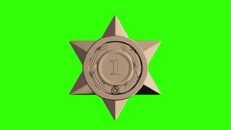 Gold star trophy on green screen background. 3d illustration