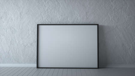 Horizontal blank billboard on a gray stone wall, white room 3d rendering