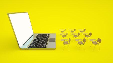 E-learning online education concept. School desks and laptop. Home quarantine distance learning. 3d illustration Stok Fotoğraf
