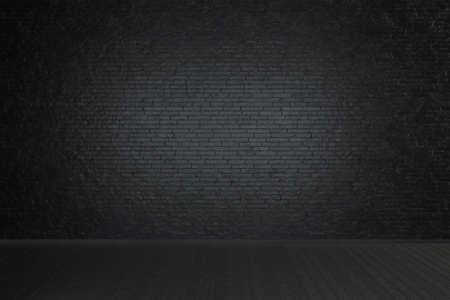 Empty studio dark room with black brick wall and wooden floor. 3d rendering