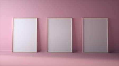 Blank three photo frames on light pink wall mock up. 3d rendering Stok Fotoğraf