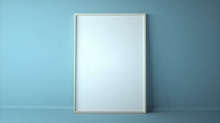 Blank photo frame or picture frame in room space background with blue wall. 3d illustration Stok Fotoğraf