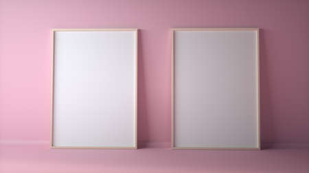 Blank two photo frames on light pink wall mock up. 3d rendering
