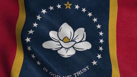 New Mississippi state flag, Magnolia Flag. Flag waving in the wind. 3d illustration Stok Fotoğraf
