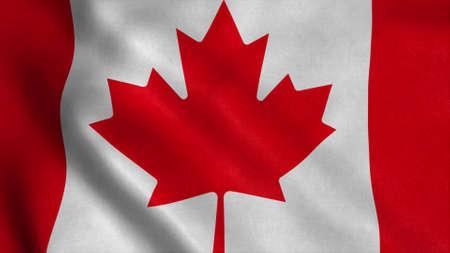 Flag of Canada fluttering in the wind. 3d illustration