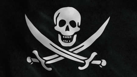 Pirate waving flag with crossed swords waving in the wind. 3d illustration