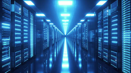 Data center with endless servers. Network and information servers behind glass panels. Cloud computing data storage. 3d illustration