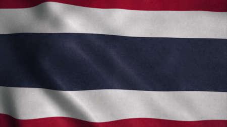 Flag of Thailand fluttering in the wind. 3d illustration Stok Fotoğraf