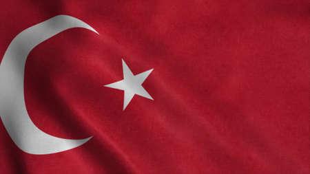Turkish flag fluttering in the wind. 3d illustration