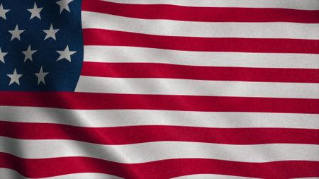 American flag fluttering in the wind. 3d illustration Stok Fotoğraf