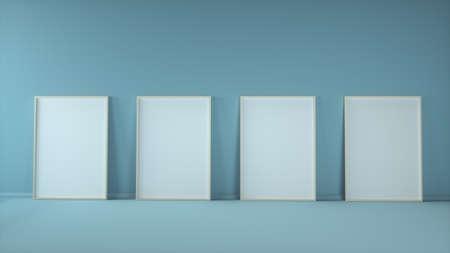 Four blank vertical poster frames mock up standing on blue background. 3d illustration
