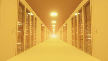 Modern yellow network and telecommunication technology computer concept: server room in datacenter. 3d rendering