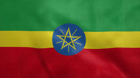 National flag of Ethiopia blowing in the wind. 3d rendering
