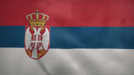 National flag of Serbia blowing in the wind. 3d rendering
