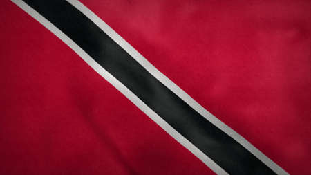 National flag of Trinidad and Tobago blowing in the wind. 3d rendering