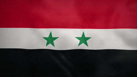 National flag of Syria blowing in the wind. 3d rendering Stok Fotoğraf