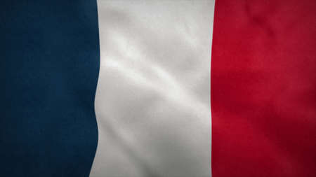 National flag of France blowing in the wind. 3d rendering Stok Fotoğraf