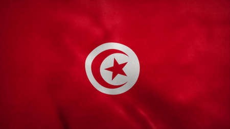 National flag of Tunisia and Tobago blowing in the wind. 3d rendering