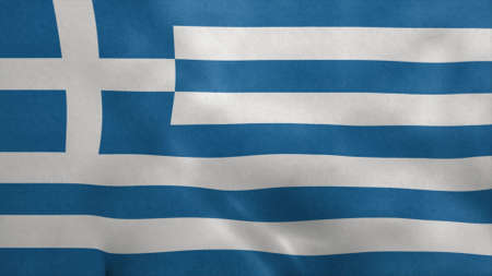 National flag of Greece blowing in the wind. 3d rendering