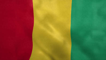 National flag of Guinea blowing in the wind. 3d rendering