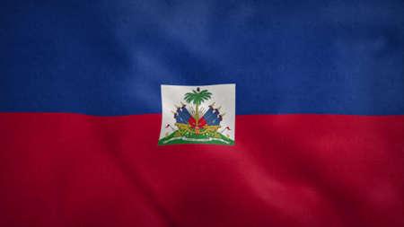 National flag of Haiti blowing in the wind. 3d rendering Stok Fotoğraf
