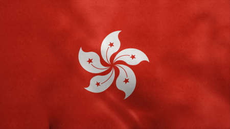 National flag of Hong Kong blowing in the wind. 3d rendering