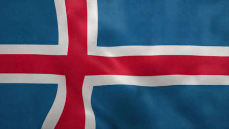 National flag of Iceland blowing in the wind. 3d rendering