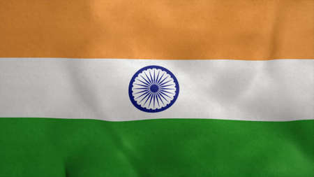 National flag of India blowing in the wind. 3d rendering