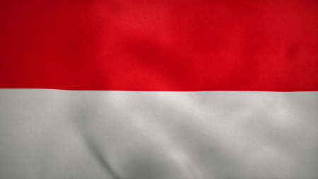 National flag of Indonesia blowing in the wind. 3d rendering Stok Fotoğraf
