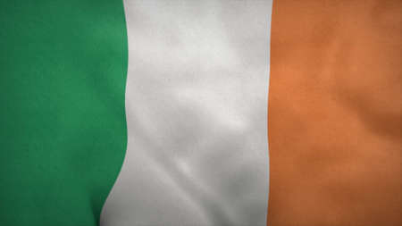 National flag of Ireland blowing in the wind. 3d rendering