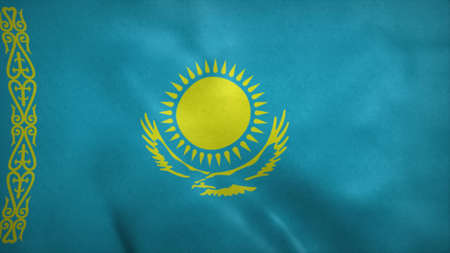 Flag of the Republic of Kazakhstan blowing in the wind. 3d rendering