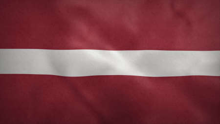 National flag of Latvia blowing in the wind. 3d rendering