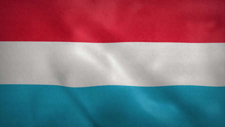 Flag Luxembourg - The Luxembourg flag blowing in the wind. 3d rendering