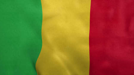 National flag of Mali blowing in the wind. 3d rendering
