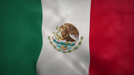 National flag of Mexico blowing in the wind. 3d rendering