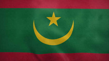 National flag of Mauritania blowing in the wind. 3d rendering Stock Photo