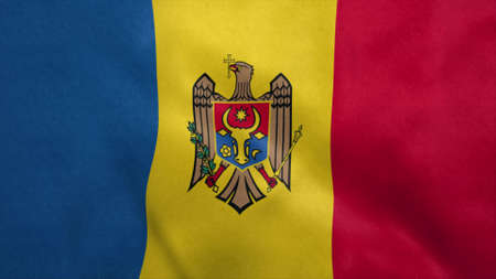 National flag of Moldova blowing in the wind. 3d rendering Stok Fotoğraf