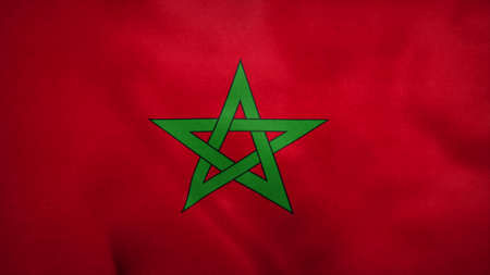 National flag of Morocco blowing in the wind. 3d rendering Stok Fotoğraf