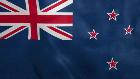 National flag of New Zealand blowing in the wind. 3d rendering Stok Fotoğraf