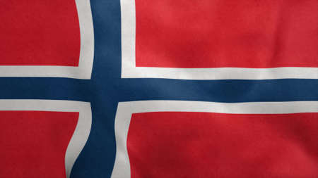National flag of Norway blowing in the wind. 3d rendering