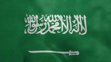 National flag of Saudi Arabia blowing in the wind. 3d rendering