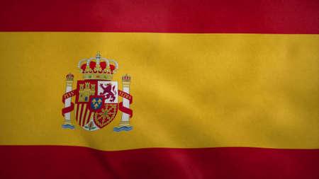 National flag of Spain blowing in the wind. 3d rendering Stok Fotoğraf