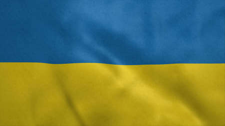 National flag of Ukraine blowing in the wind. 3d rendering