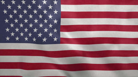 United States of America flag blowing in the wind. 3d rendering