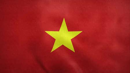 Vietnam flag blowing in the wind. 3d rendering