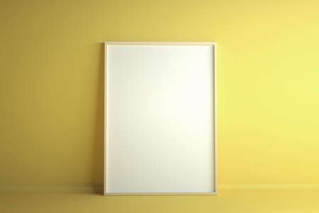 Empty white frame on yellow background. Mockup with copyspace. 3d rendering