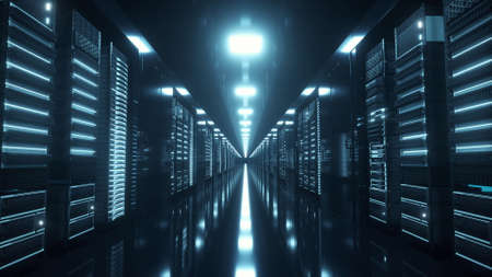 Network and data servers behind glass panels in a server room. 3d illustration Stok Fotoğraf