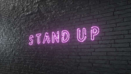 Glowing Stand Up emblem on black brick wall background. 3d illustration